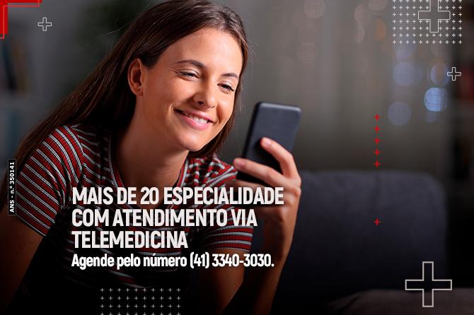 Mais de 20 especialidades com atendimento via telemedicina!